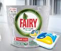 Скидка 45% по промокоду на средство для мытья посуды Fairy для посудомоечных машин.